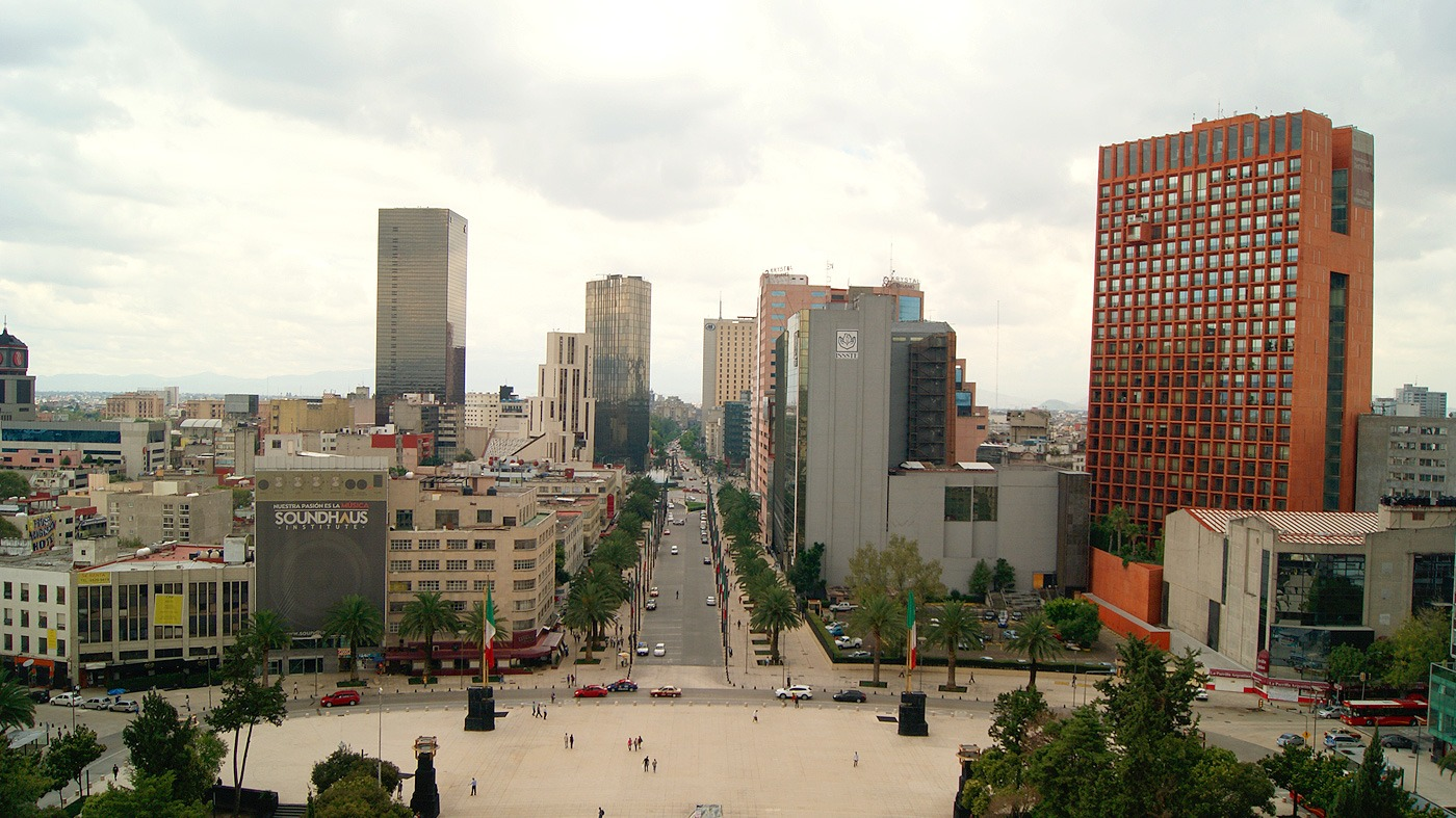 Mexico City: The view from the Monument to the Revolution looking south.